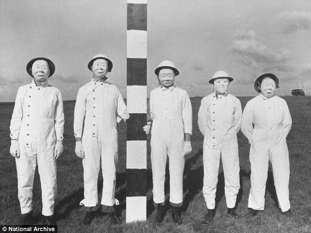 Eerie: Volunteers line up to be experimented on at 'military science park' Porton Down, in Wiltshire. Scientists exposed volunteers to potentially dangerous gases to measure how much was absorbed by the masks