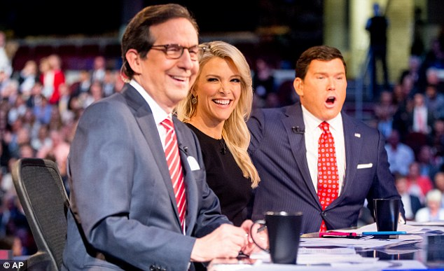 Moderators: During the televised debate, Kelly, center, asked candidates questions along with Fox hosts Chris Wallace (left) and Bret Baier (right). Trump also attacked Wallace, but much more mildly than Kelly