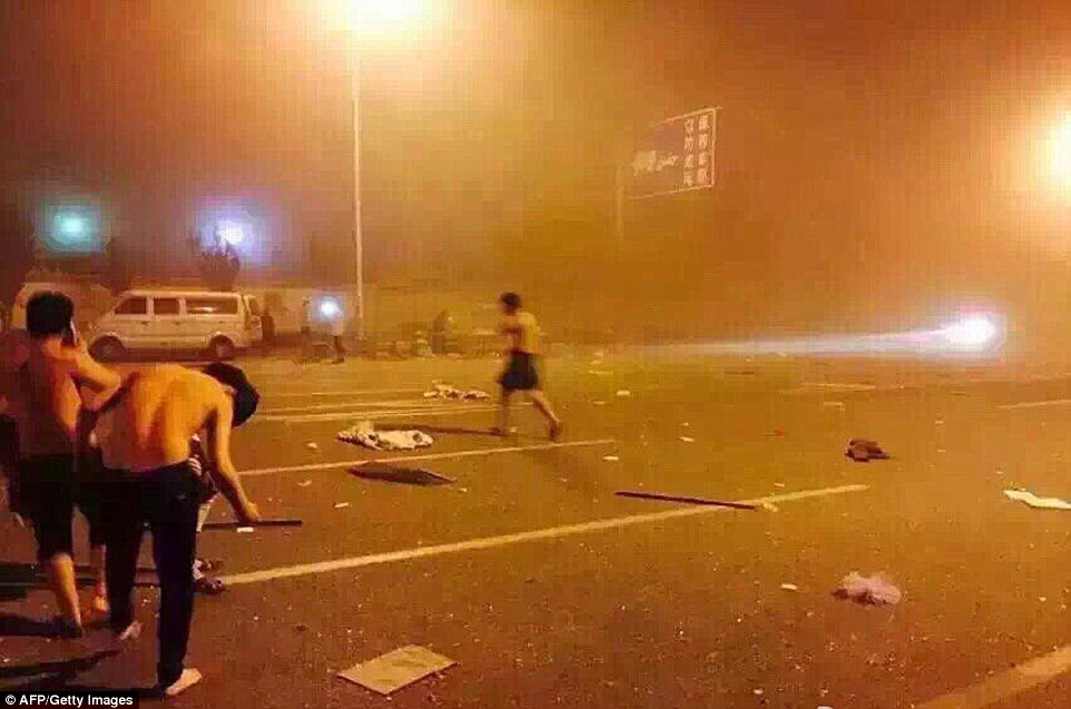The aftermath: There was a huge explosion of inflammable material stored in a warehouse in Tianjin