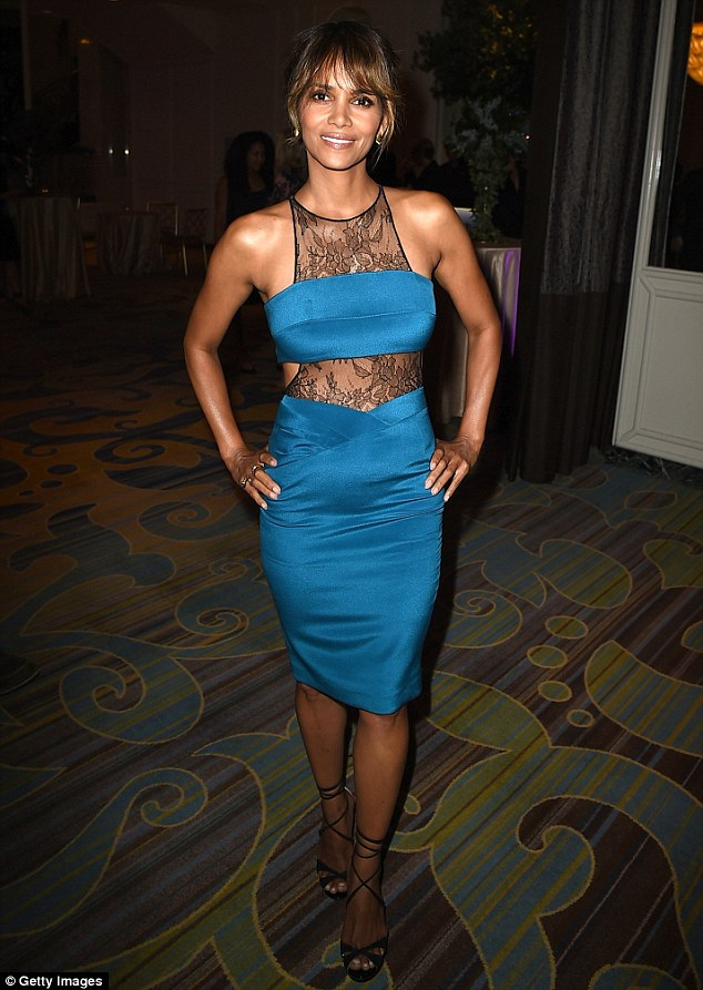 Blue babe: Halle Berry stunned in a cerulean dress as she attended the Hollywood Foreign Press Association Annual Grants Banquet at the Beverly Wilshire Four Seasons Hotel in Beverly Hills, California on Thursday