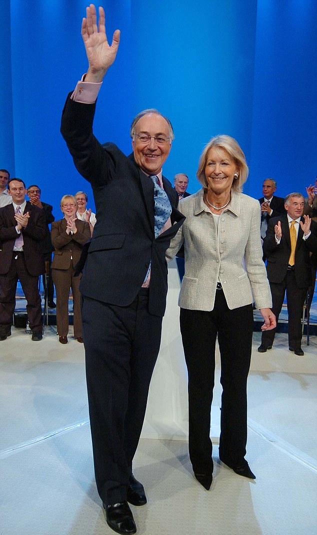 Lord Howard's fee for the part-time post as chair of Soma is undisclosed, though industry experts say it could be close to £75,000. Pictured is Lord Howard with wife Sandra after delivering his final speech as Tory leader in 2005