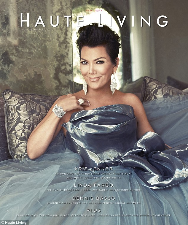 Grace under pressure: Kris Jenner was shining in a dramatic silver gown on the August/September cover of Haute Living New York