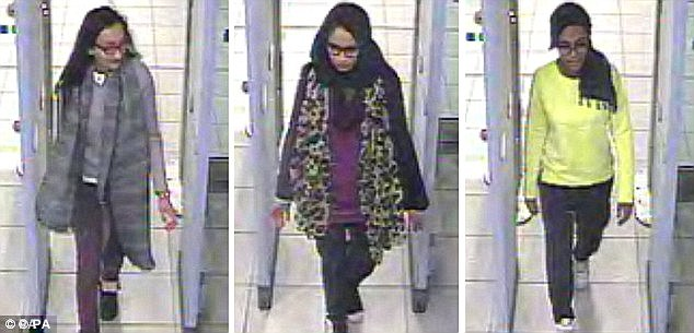 Married: The three schoolgirls Amira Abase, 15, Shamima Begum, 15, and Kadiza Sultana, 16, from east London, have all married ISIS fighters after being given a catalogue of extremists to choose from