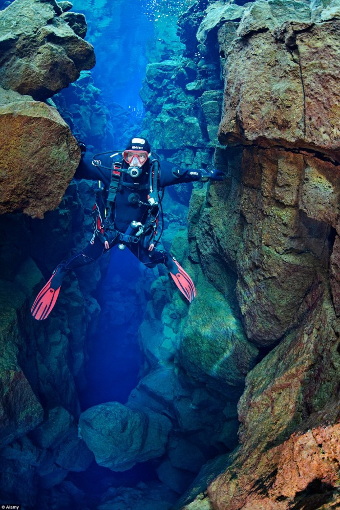 Crystal clear waters flow through a crack between the North American and Eurasian continents, which drift 2cm further apart each year