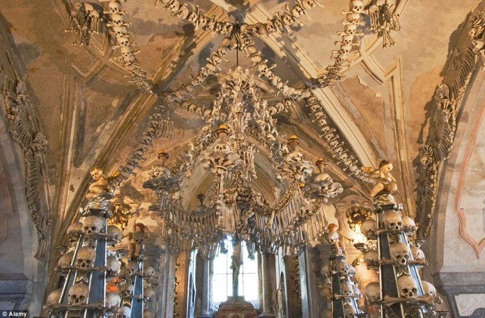 The spine-tingling Sedlec Ossuary in the Czech Republic is estimated to hold the remains of between 40,000 and 70,000 people