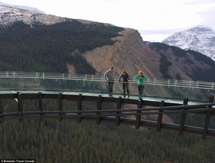 The £12.5m Glacier Skywalk is described as a 'one-of-a-kind interpretive experience', jutting 100ft from the Alberta rocks