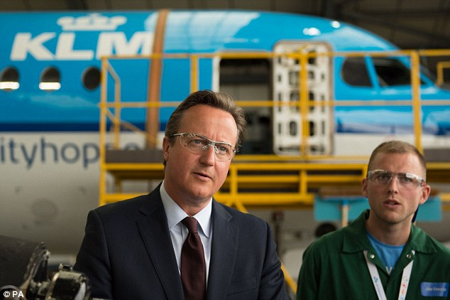 David Cameron - meeting apprentices employed by KLM Engineering at Norwich Airport today - launched a blistering attack on Labour leadership frontrunner Jeremy Corbyn