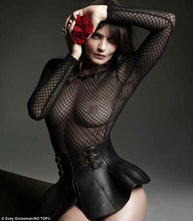 Fierce at 46:Helena Christensen bares her  breasts in a fishnet bodysuit as she flaunts her supermodel figure in a racy high-fashion photoshoot for No Tofu magazine