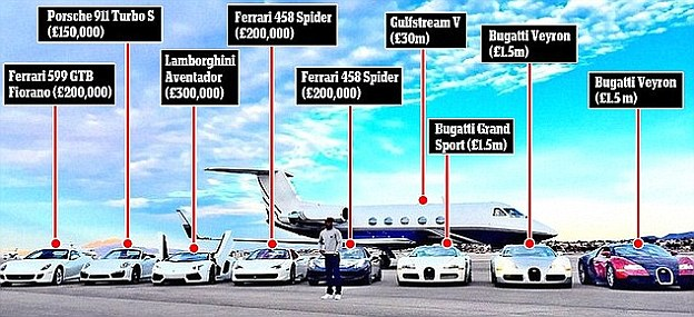 Mayweather stands in front of his former eight-strong fleet of supercars and his private jet early this year