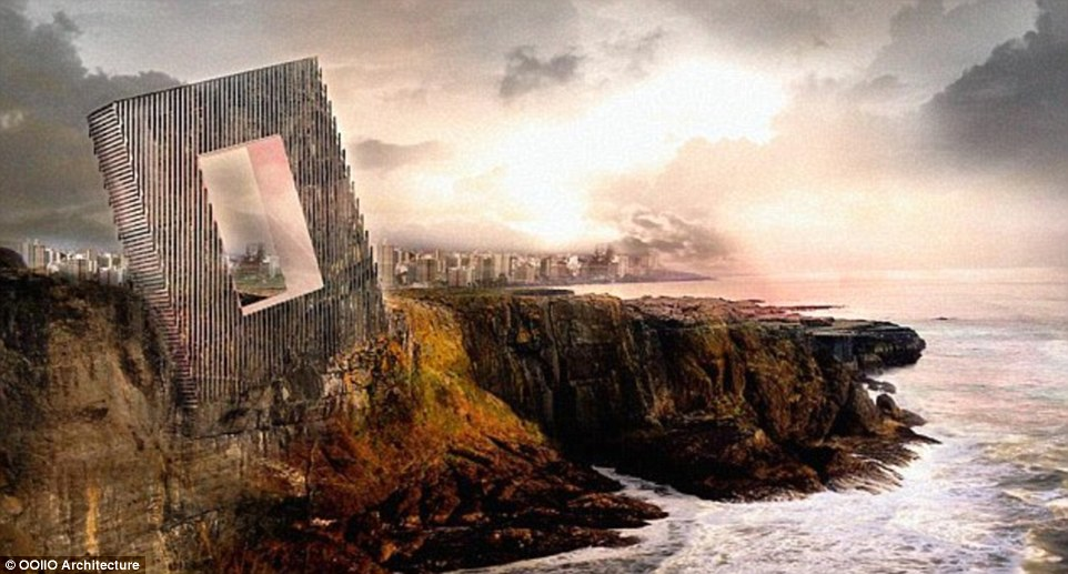 Framed: The hotel will be set into high cliffs above the Pacific Ocean in Peru's capital city, Lima