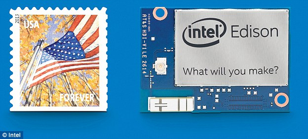 The Intel Edison Breakout Board kit, a customisable compute platform, is slightly larger than a postage stamp.