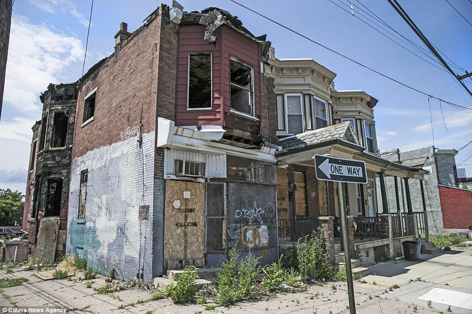 Many of the houses have been boarded up, as fed-up residents flee the deprivation and the high crime rates in the New Jersey city
