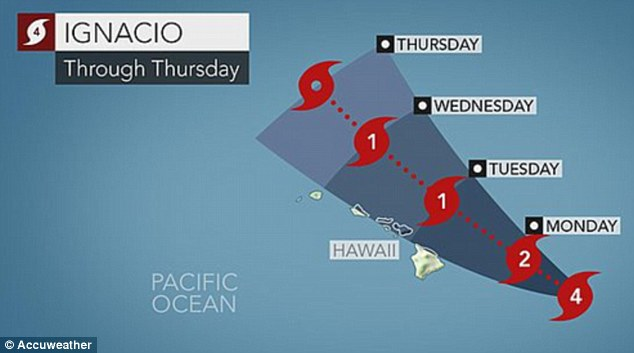 Hurricane Ignacio is expected to pass north-east of the Big Island on Monday and north of Maui on Tuesday
