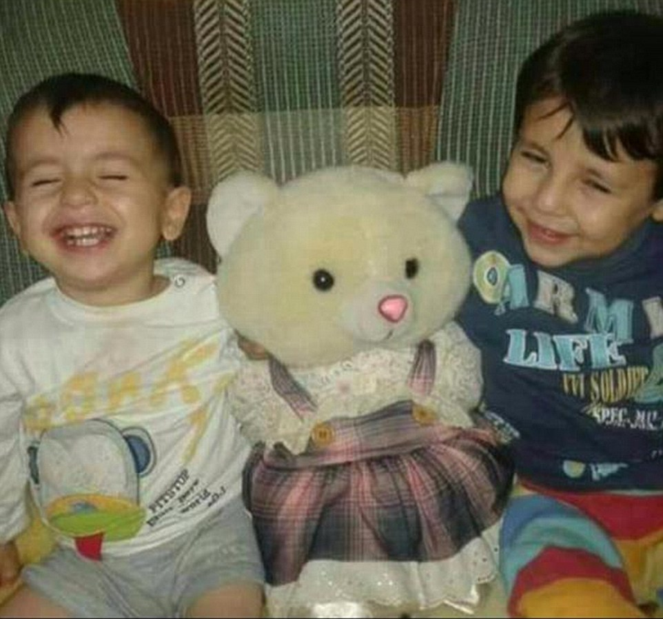 Heartbreaking: The bodies of Aylan, three (left) and his brother Galip, five (right) washed up on the shores of the Mediterranean. This photo shows the boys when they were younger, according to a Syrian journalist