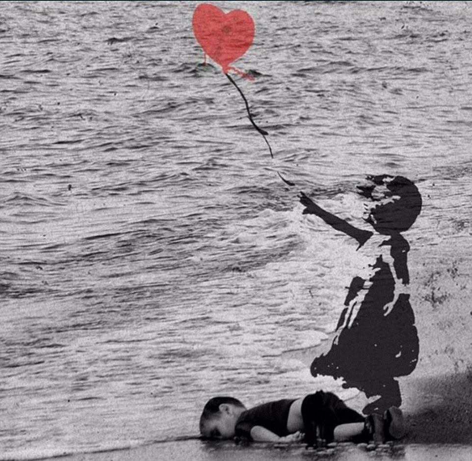 One Twitter user adapted a famous Banksy work to include the photograph of tragic Aylan, juxtaposing his life with that of other children