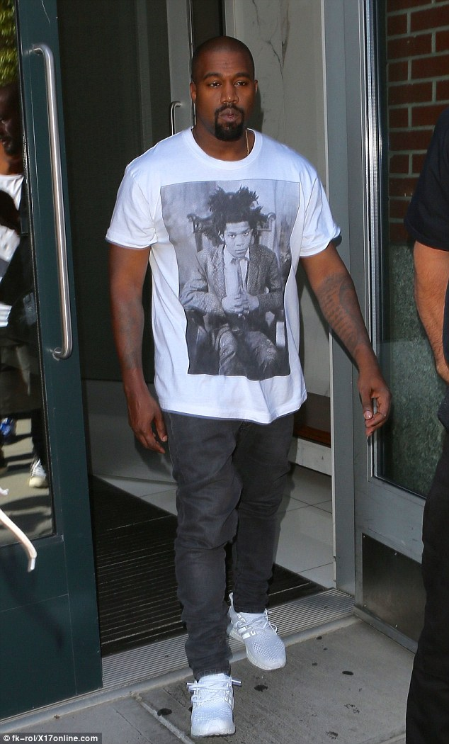 Kanye West Sports Basquiat T Shirt As He Leaves Kim