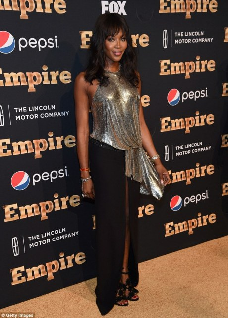 Metallic: Cutting a dash as she appeared at the city's famous Carnegie Hall, the catwalk star wowed onlookers in her choice of attire