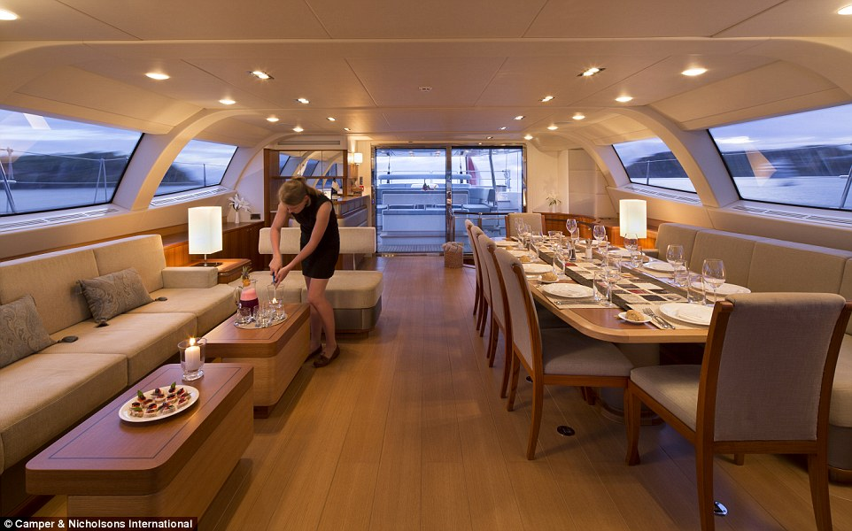 It doesn't take an expert to appreciate the nearly 360-degree views from the vessel's upper saloon, which seats 10 for dining