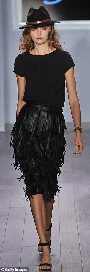 Blowing in the wind: Weather casual cool or a night on the town, black fringed leather was a big element to several of the looks