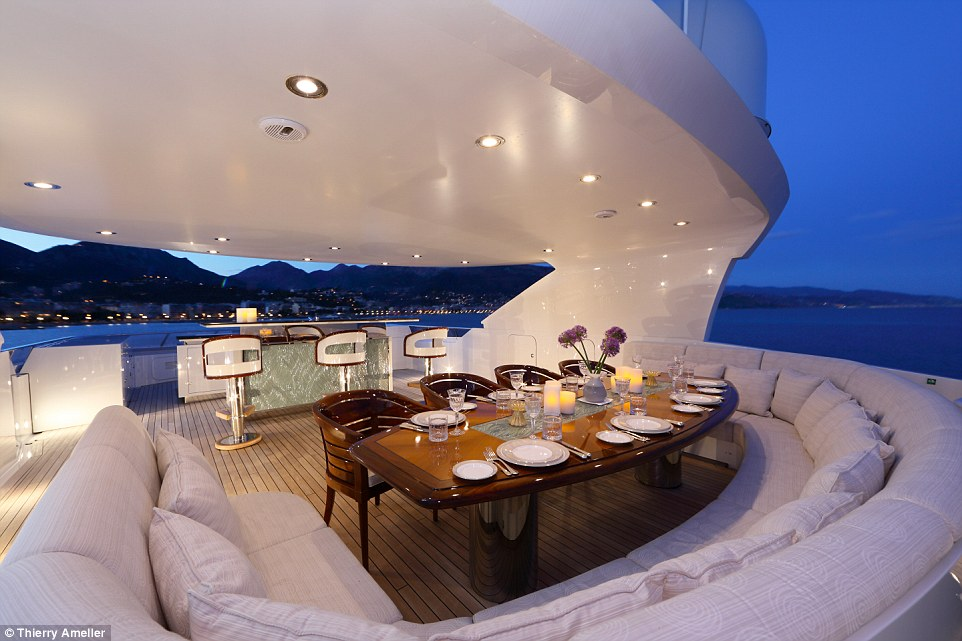 The 39.8-metre (130.6ft) superyacht boasts a new eating area and wet bar on one of its exterior decks after the refit in 2011