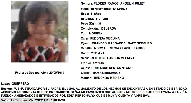 Innocence lost: Shockingly, a five-year-old girl called Angelin Juliet Flores Ramos also appears on the list