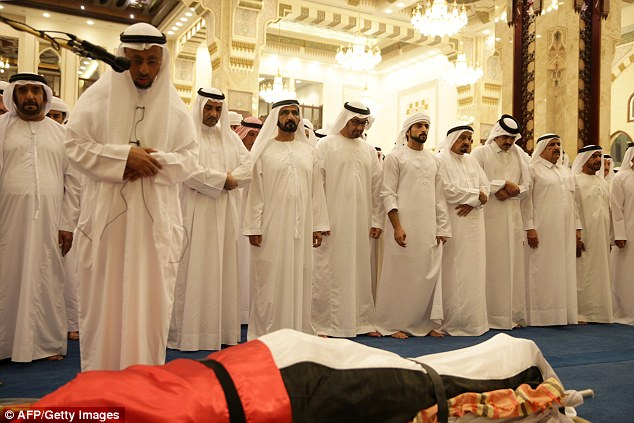 The body of Sheikh Rashid bin Mohammad was covered in the flag of the United Arab Emirates