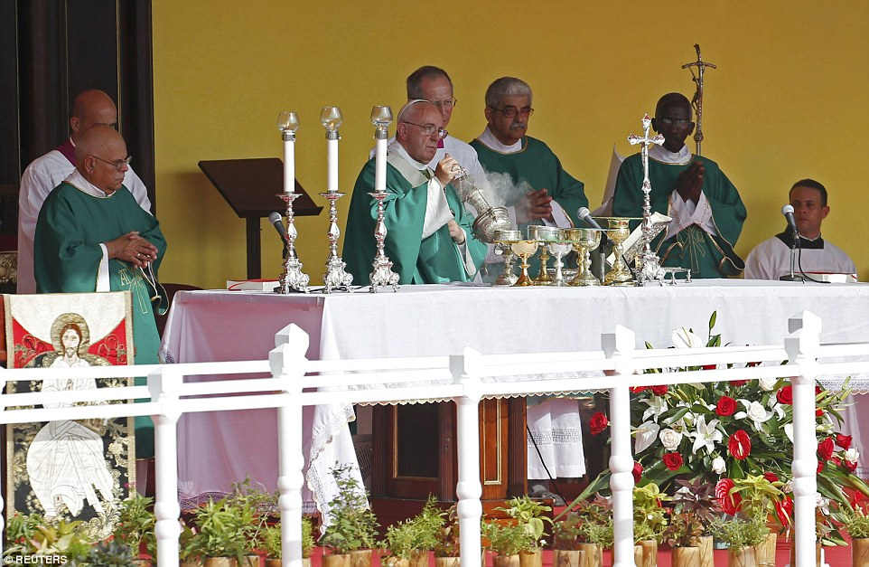 The pope also used his Sunday Mass to call on Colombia to put an end to the 'bloodshed' and stop South America's longest-running conflict