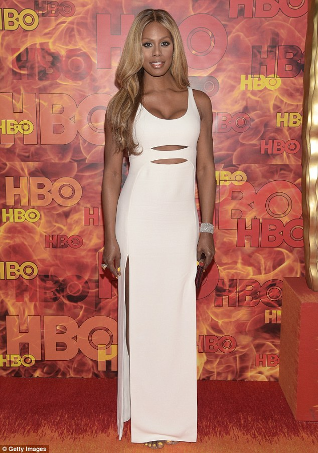 All white on the night:Laverne Cox looked sensational as she slipped into her second dress for the Emmys in Los Angeles on Sunday night - this time for the HBO After Party