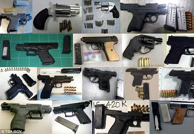 The TSA has released images of some of the firearms that people tried to bring with them into the cabin of passenger jets due to fly across the United States on the anniversary week of the 9/11 terror attacks
