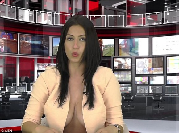 The presenter went almost topless during this screening in which she introduced a report aboutSerbian Prime Minister Aleksandar Vucic
