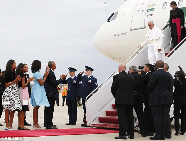 Here anyway: Pope Francis got stuck circling North Carolina this afternoon when his aircraft arrived in the United States early, a tracking device on his flight shows
