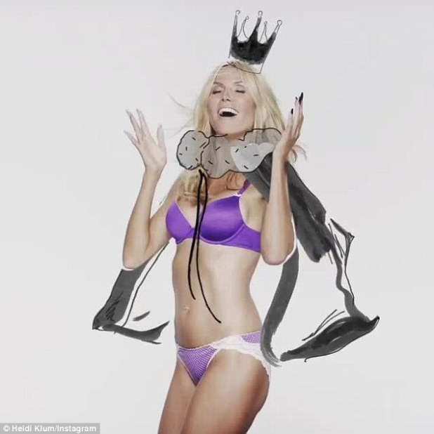 Queen: Heidi modeled a purple Intimates ensemble while clad in a crown and cape