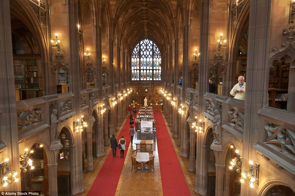 Located in Manchester, John Rylands Library is a striking gothic library, which opened on 1 January 1900. Pictured is the Reading Room which features stained-glass windows