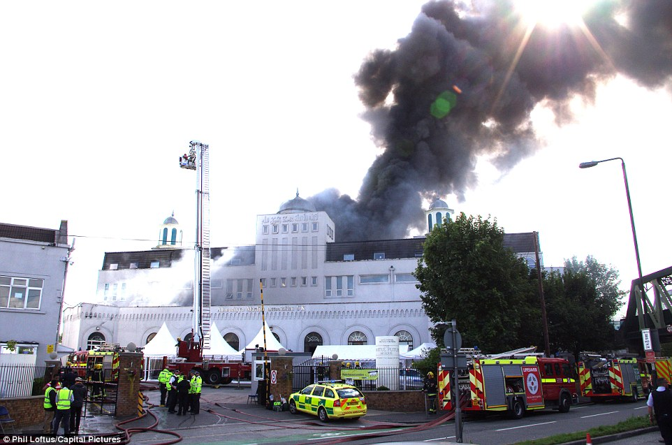 Huge effort: 70 firefighters were deployed to tackle the enormous blaze on Saturday afternoon