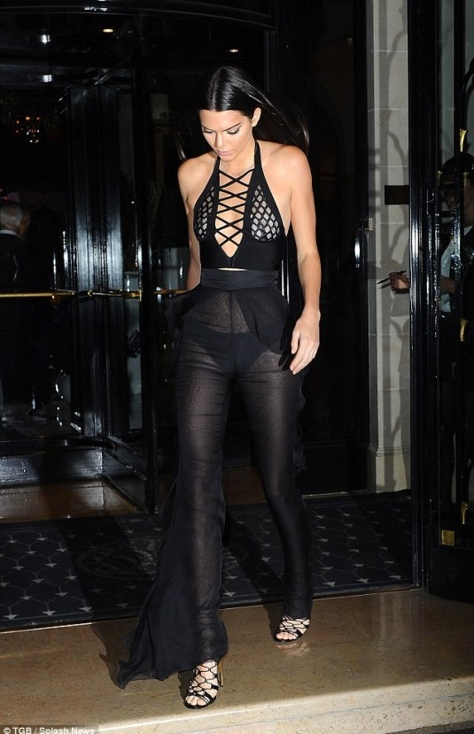 Here she comes: Kendall Jenner was a noticeable presence in the French capital when she headed out for dinner on Wednesday evening