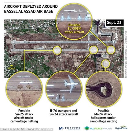 This satellite image taken on September 23 shows a build-up of Russian aircraft around Bassel Al Assad Air Base in Syria, as Moscow defied the West by increasing its military presence in support of President Assad