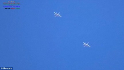 Bombers: Video footage emerged that claims to show Russian  jets targeting areas in Hama Province in Syria which are controlled by moderate rebel groups supported by the U.S.-led coalition and not ISIS
