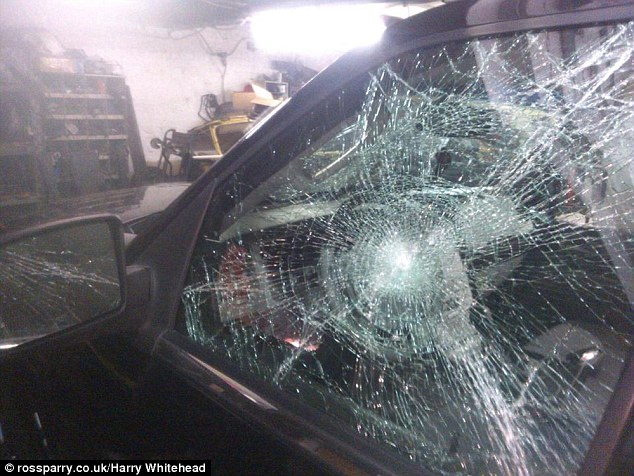 Cruelty at home: They are attacked in the streets, their car windows are smashed (pictured) and their home is pelted with eggs