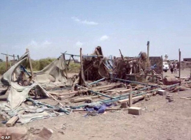 Death from above: Critics have also condemned the country after aSaudi-led coalition targeting Yemen's Shi'ite rebels carried out an airstrike on a wedding party (pictured), killing 28