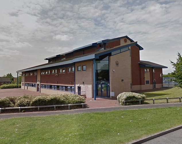 Hussain appeared at Cannock Magistrates Court (pictured) alongside student Adil Bashir, 25, and self-employed tutor Muhammad Sheikh, 30, both from Birmingham