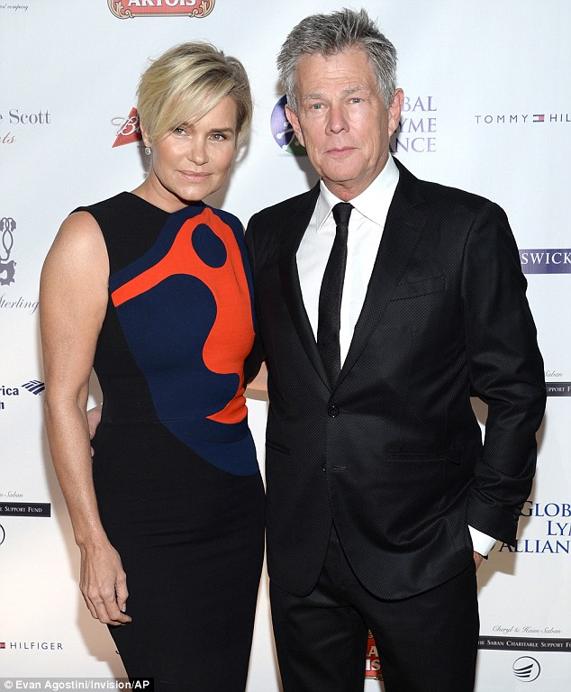 United front: David Foster, Yolanda's husband of four years,  also attended the gala honouring his wife
