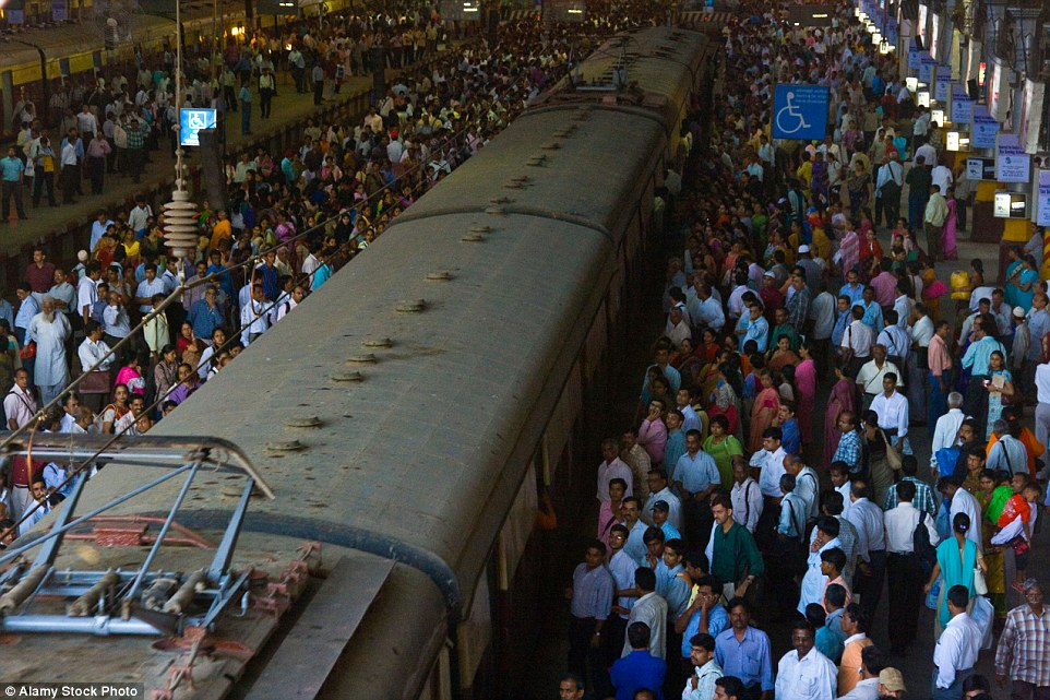 At Chhatrapati Shivaji Train Station in Mumbai India, the crowds that gather for rush hour trains are regularly enormous