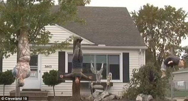 This scene in the front yard of a home in Parma, Ohio, is also creating controversy because it is gruesome
