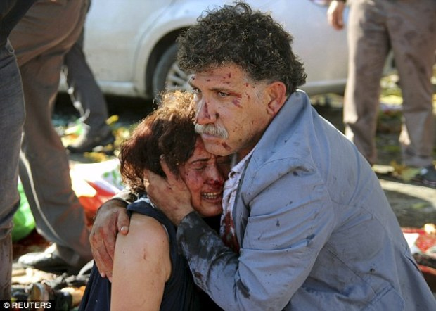Horrific: Witnesses described how the blast shook the ground at the road junction near the main train station in the centre of the Turkish capital Ankara