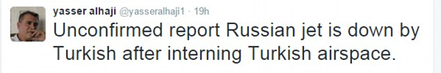Unconfirmed  social media reports suggest a Russian jet has been shot down after entering Turkish airspace