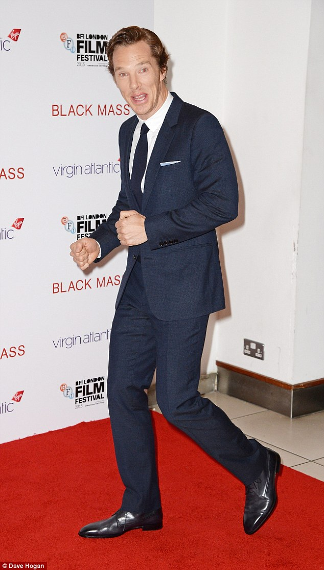 Joking around: The Sherlock star was in great spirits as he promoted his new film