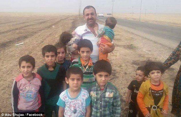 Local legend: Nicknamed the 'father of courage', Abu Shujaa has risked his life to rescue nearly 400 Yazidis (pictured) from ISIS