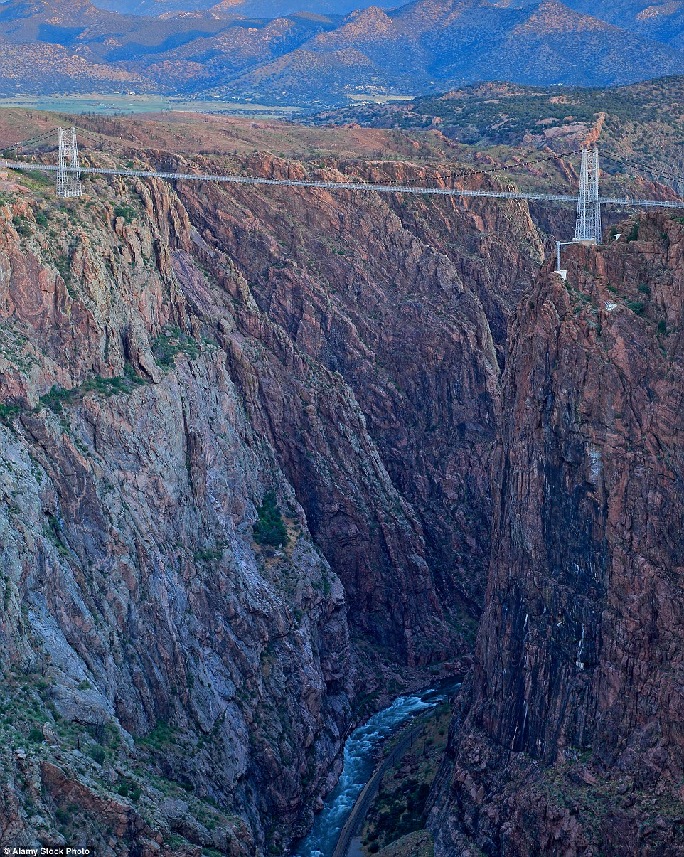 Don't look down: The Royal Gorge Suspension bridge in Colorado is America's highest suspension bridge at 1,053 feet above ground