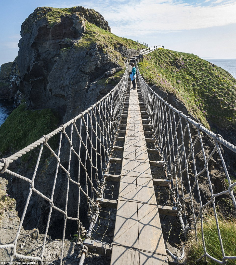 Originally the Carrick-a-Rede Rope Bridge in Northern Ireland only had one handrail. Thankfully today there are more robust safety features in place, but it is still a scary experience for those who gaze down on the rocks below
