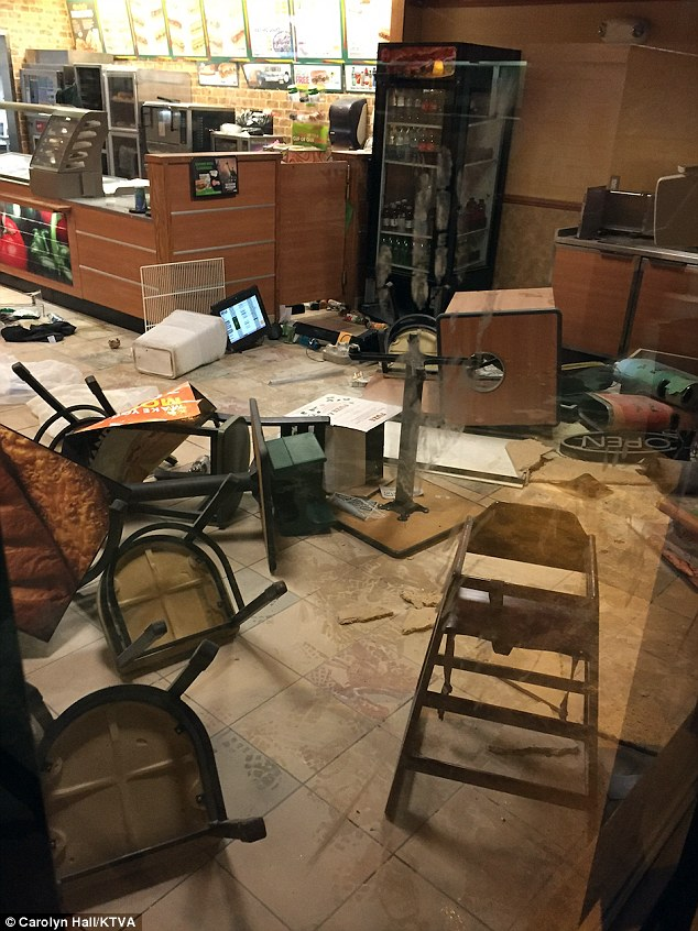 Police were called to Anchorage Subway Tuesday night after a female suspect violently damaged the interior